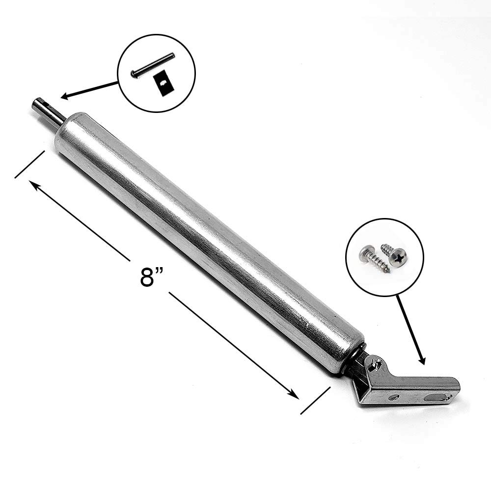 Laundry Chute Door Closer. 8 inch Hydraulic retracted Piston Pump with Bracket & Clevis Parts for Side & Bottom hinged Trash Intake Doors. Pro Chutes laundry-chute-hydraulic-door-closer-8