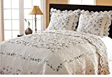 3 Piece Floral Bordered Design Quilt Set King Size, Featuring French Country Inspired Reversible Patchwork Pattern Bedding, Stylish Contemporary Shabby Chic Girls Teens Bedroom, Blue, White, Multi