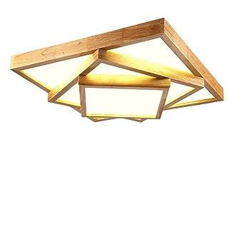 80w Led Plafonnier Lampe En Bois Design Moderne Plafond Creative Geometry Lampe De Salle De Bains Dimmable Telecommande Pour Salon Chambre Plafond