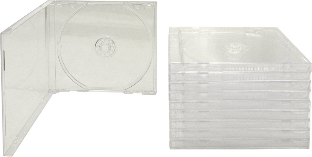 10 Standard Empty Clear Replacement CD Jewel Boxes with Clear Inner Trays (Assembled) - CDBIS10CL