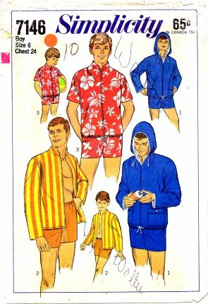 (Simplicity 7146 Men's or Boys Swim Shorts and Jacket, Vintage Sewing Pattern Check Offers for Size)