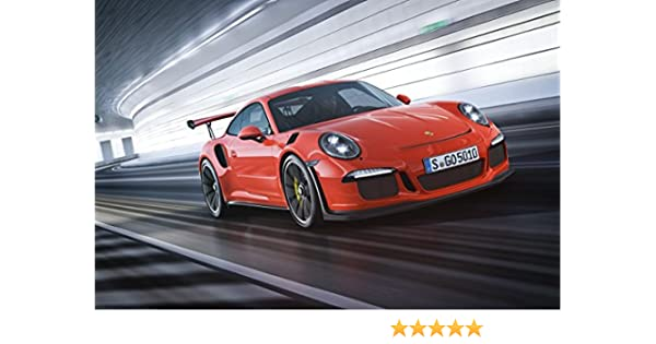 Amazon.com: Porsche 911 (991) GT3 RS (2015) Car Art Poster Print on 10 mil Archival Satin Paper Red Front Side Motion View 18