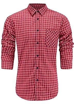 Emiqude Men's Slim Fit 100% Cotton Long Sleeve Plaid Dress Shirt