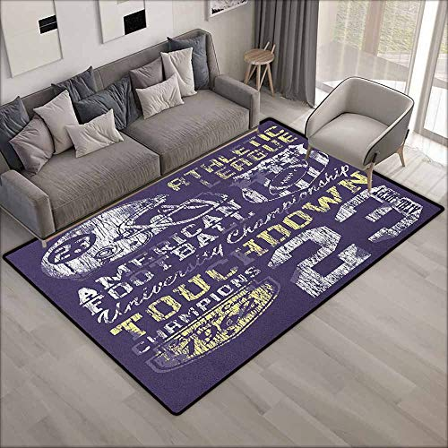 Classroom Rug,Sports Retro Style American Football College Theme Illustration Athletic Championship Apparel,Anti-Static, Water-Repellent Rugs,5'10