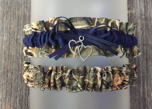 Camouflage Navy Blue Satin Camo Wedding Bridal Garter SET - Double Heart Charm