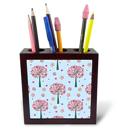 3dRose Lens Art by Florene - Abstract Designs - Image of Abstract Pink Trees Pattern - 5 inch Tile Pen Holder (ph_307717_1)