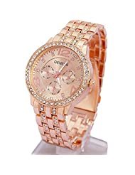 Happy Hours - Bling Crystal Rhinestone Unisex Quartz Leisure Wrist Watch / Luxury Geneva Alloy Band Classic Round Leisure Watches with a Button Battery(Rose Gold)