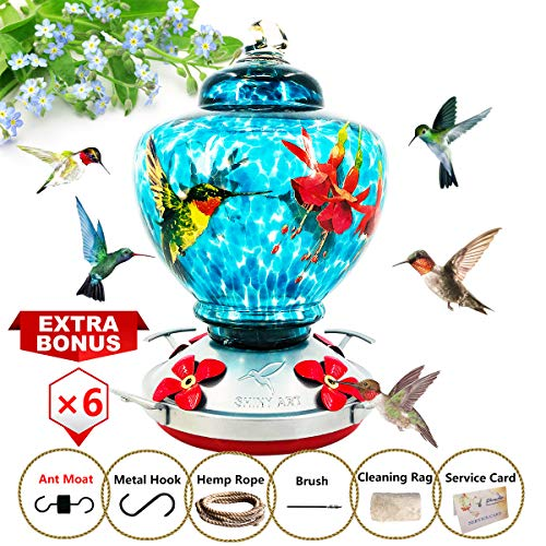 (ShinyArt Hummingbird Feeder - Hand Blown Glass - Blue - Hummingbird Floral Printed- 38 Fluid Ounces Nectar Capacity Include Ant Moat, Metal Hook, Hemp Rope, Brush, Cleaning Rag and Service Card)