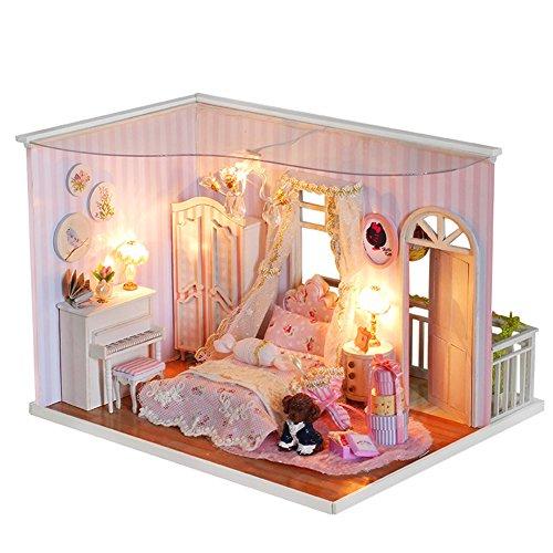OSHIDE オシデ ドールハウス ピンクの思い出 手作りキットセット DIY LEDライト ヨーロッパ風 かわいい おもちゃ 組み立てキット 照明 点灯 ミニチュア インテリア クリスマス プレゼント 防塵ケースなし CF02
