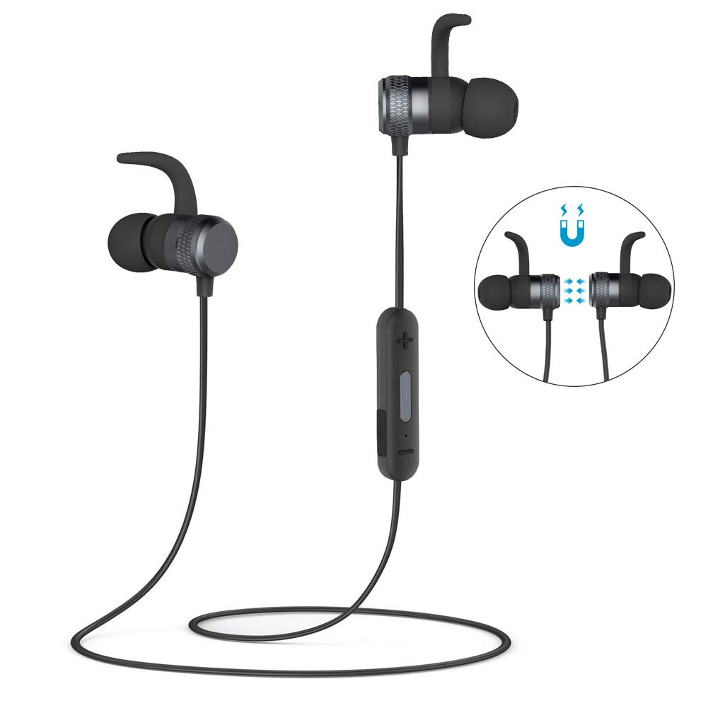 Bluetooth Headphones Sport, Kitbeez Magnetic in Ear Stereo Earphone V4.2 Noise Cancelling Earbuds IPX5 Sweatproof 6-8 Hours Playing Times with Microphone Compatible for iOS Android Phone