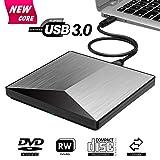 External CD Drive, Snorain USB 3.0 CD/DVD+/-RW Burner Player, Optical Superdrive High Speed Data Transfer for Laptop MacBook Desktop Computer Compatible for Windows10 /8/7/XP/Mac OS (Silver)