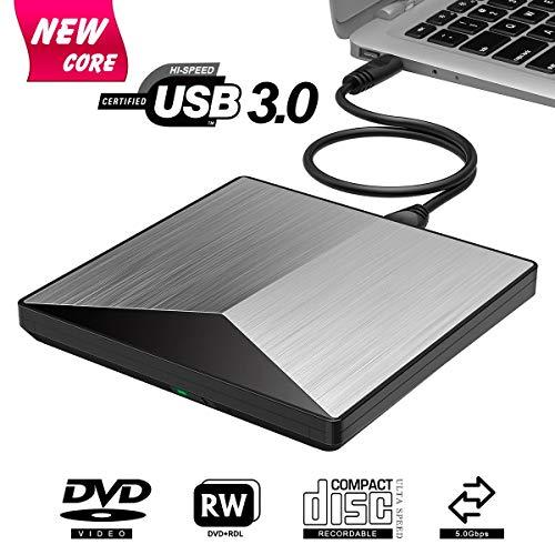 (External CD Drive, Snorain USB 3.0 CD/DVD+/-RW Burner Player, Optical Superdrive High Speed Data Transfer for Laptop MacBook Desktop Computer Compatible for Windows10 /8/7/XP/Mac OS (Silver))