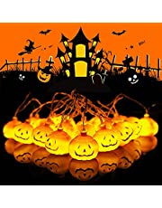 Danolt Halloween ljusslinga halloween dekorationer ljusslingor 3 m 20 LED pumpa lyktor batteridrivna ljusslingor för inomhus utomhus halloween dekorationer