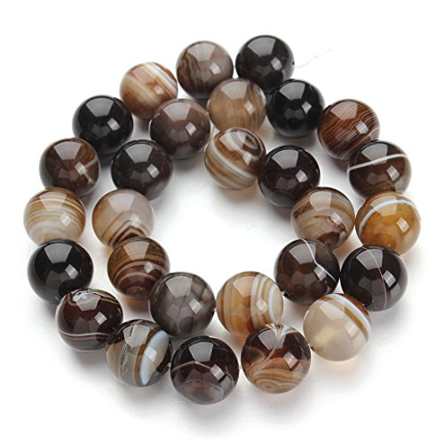 [Onyx Beads] Linsoir Beads 12mm Glossy Natural Stone Onyx Agate Round Striped Loose Beads 40cm/strand