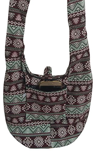 Zip Handmade Bag Light Brown Purse Bag Crossbody Cotton Hippie Sling Hobo BELLEZAS Green Shoulder ZRzq8FZw