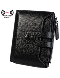 BIG SALE-30% OFF Yaluxe Women's RFID Blocking Security Leather Small Billfold Wallet Pebbled Black