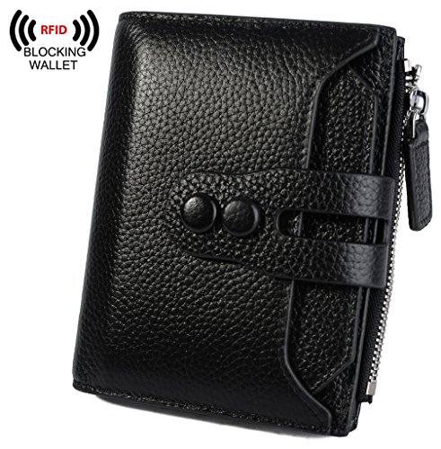 YALUXE Womens RFID Blocking Small Compact Leather Wallet Ladies Mini Purse with ID Window