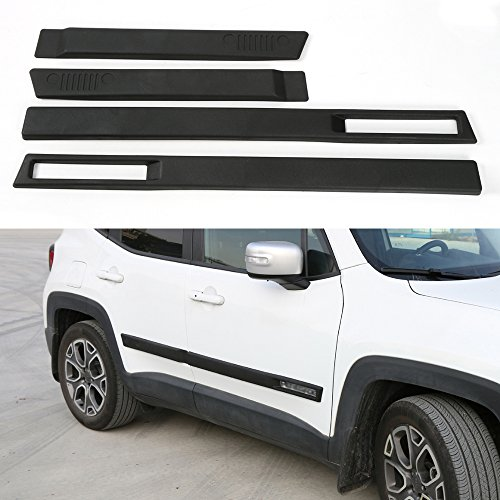 4pcs Black ABS Body Side Moulding Door Cover Trim Kit Molding Protector Guard Decor for Jeep Renegade 2015 2016 2017 (black) - Jeep Door Molding