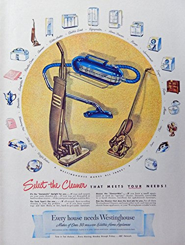 Appliance Vintage Ads (Westinghouse Home Appliances, 40's Vintage Print Ad. Color Illustration, Original Rare 1947 Life Magazine Art)