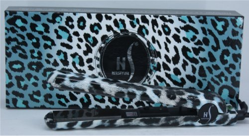 Herstyler Turquoise Leopard Hair Straightener - Dual Voltage, Adjustable Temperature, Onyx Ceramic Plates - Best Hair Straightening Iron for Animal Print Lovers