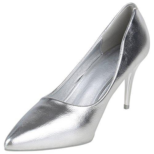 Stiefelparadies Elegante Spitze Pumps Damen High Heels Lack Stilettos Animal Print Flandell Silber
