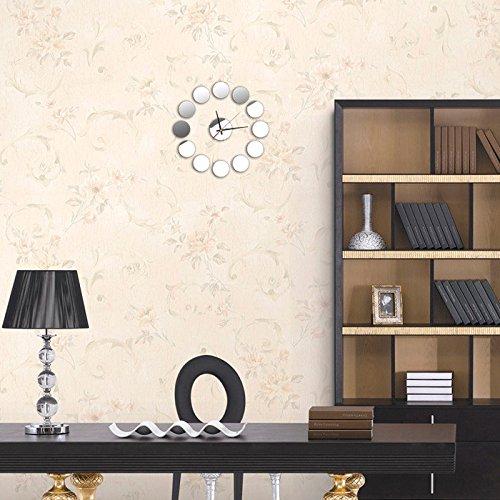 Giulot Acrylic 3D Large Frameless Butterfly Mirror Wall Clock, Cupid's Loving Girl Wall Sticker Faded Love Alarm Clock for Home Living Room Bedroom Loft Cafe Decoration Sunburst Silver Wall Clock