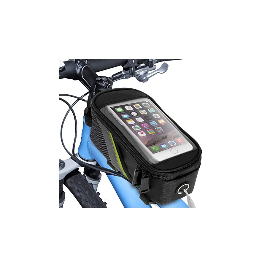 """Pro Bike Bag Top Tube Bicycle Bag with Transparent Touch Screen Cover for 5.5"""" Screen Phone 