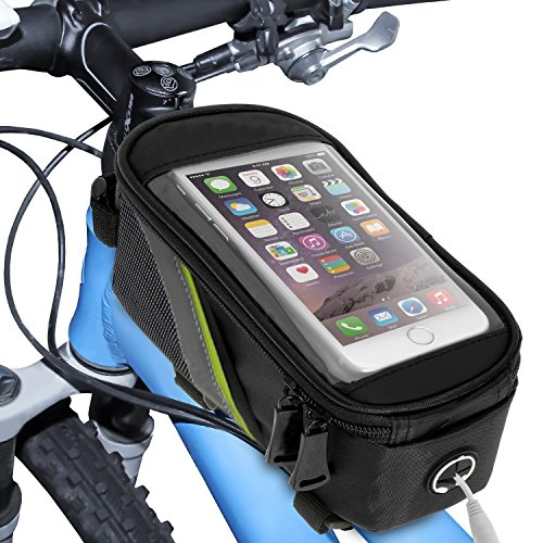 "Pro Bike Bag | Top Tube Bicycle Bag with Transparent Touch Screen Cover for 5.5"" Screen Phone 
