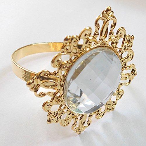 Tangpan 100pcs Gold-Light Napkin Ring Rhinestones Napkin Rings for Weddings Pearl Napkin Rings Shiny Color Clear