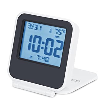 Egundo Small Digital Travel Alarm Clocks,Battery Operated Travel Clock with Alarms Lights,Portable Folding Mini Pocket Temperature Clock for Outdoor ...