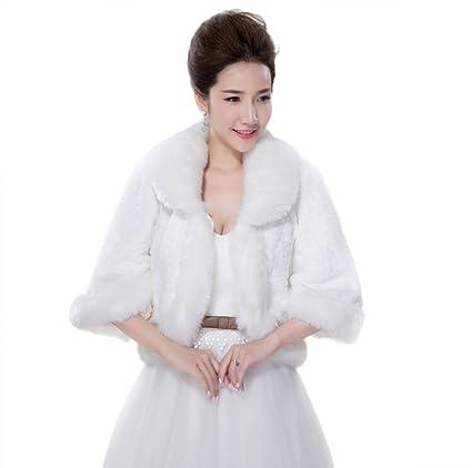 Jungen elegante Abrigo chaqueta Bolero para boda vestido de invierno blanco