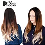 HairPhocas 3-Tone Dyed Long Curly Natural Black to Golden Blonde Ombre Hair Wigs Review
