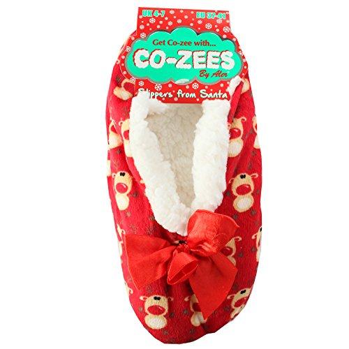 Ladies Luxury Christmas Design Sherpa Fleece Lined Slippers Red Reindeer lPOsI