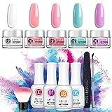 Dipping Powder Nail Starter Kit 5 Colors Dip Powder Easy Dip powder kit Nail Dipping Powder French Nail Manicure Nail art set No UV/LED