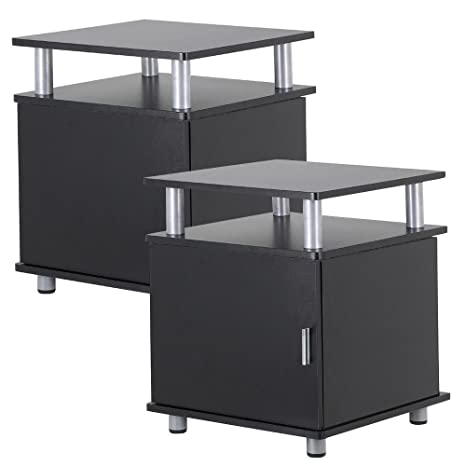 Review go2buy Set of 2 Black Wood Bedroom Nightstands End Tables with Storage Bedside Cabinet with Door and Shelf