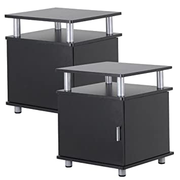 Amazon.com: go2buy Set of 2 Black Wood End Tables with Storage ...