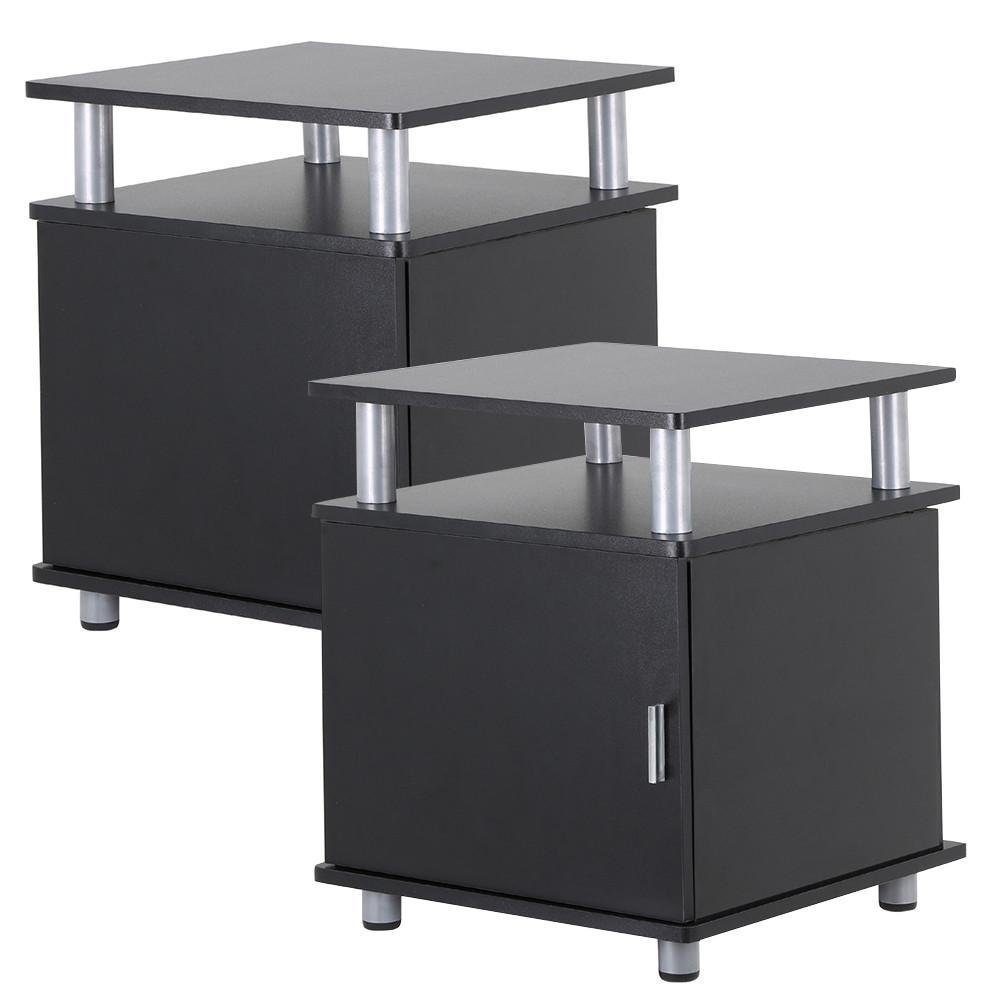 go2buy Set of 2 Black Wood Bedroom Nightstands End Tables with Storage Bedside Cabinet with Door and Shelf