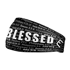 Unisex Headband / Sweatband. Best for Sports, Fitness, Working Out, Yoga. Tapered Design. (BLACK BLESSED)