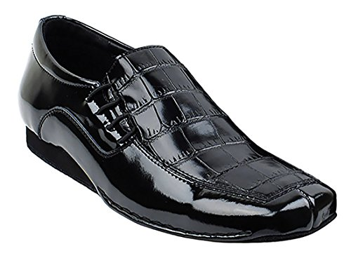 Very Fine Ballroom Latin Tango Salsa Dance Shoes for Men SERO102BBX Leather - Flate Heel - Black Croc - 10.5 (Salsa Shoes Men)