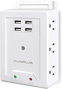 Multi Outlet Wall Adapter, AUOPLUS Power Strip with 6 AC Outlets and 4 USB Ports(5V/3.1A)- Mountable Grounded Surge Protector, Portable Outlet Extender for TV Computer Laptops Smartphone Home Office