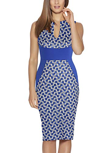 Fantaist Business Dress,Women Sleeveless V Neck Fitted Sheath Midi Pencil Dresses (S, FT601-Blue Dot)