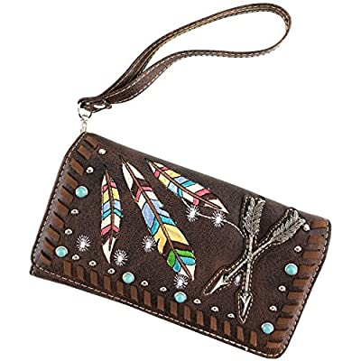 Justin West Native Color Feather Arrow Turquoise Stud Weave Fringe Conceal Carry Shoulder Handbag Purse | Trifold Wallet