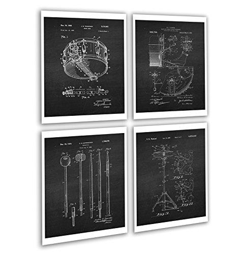 Vintage Drum Posters Set of 4 Unframed Patent Art Chalkboard Gift for Drummer 8x10
