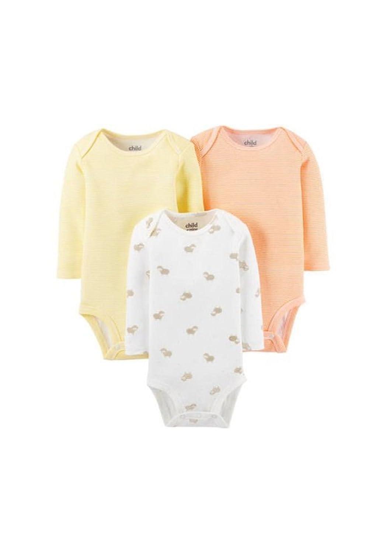 Child of Mine by Carter/'s Newborn Baby Girl Long Sleeve 3 Pack Bodysuit