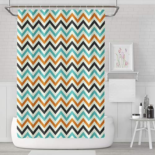 Asoco Shower Curtain Set with 12 Hooks Halloween Zig Zag Polyester Fabric Waterproof Bath Curtain 72X78 Inches Decortive Bathroom]()