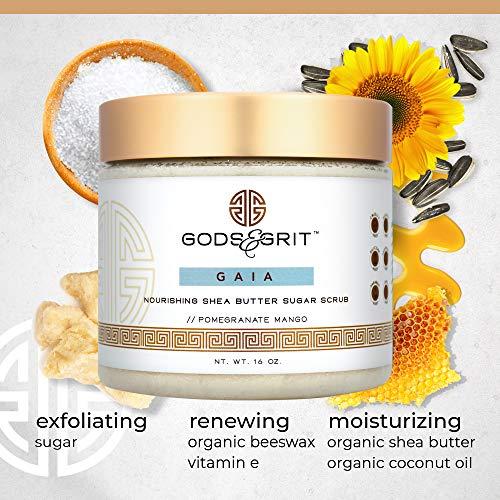 Gods & Grit Gaia Nourishing & Exfoliating Body Scrub   Hydrating Pomegranate Mango & Shea Sugar Scrub with Coconut Oil…
