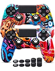 [2 Pack] PS4 Controller Skins Cover Graffiti, PS4 Controller Grip Silicone Anti-Slip Protector Case for Sony PS4, PS4 Slim, PS4 Pro (PS4 Controller Skin 2 Pack)