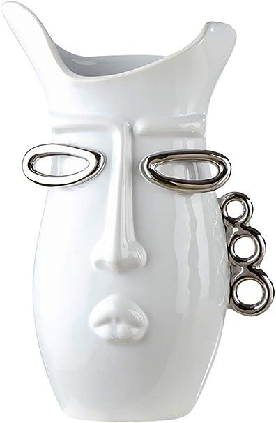 Gilde D/éco Moderne Vase Vase /à Fleurs Vase de Table Kiss Vase en c/éramique Blanc//Argent Hauteur 36 cm Largeur 19 cm