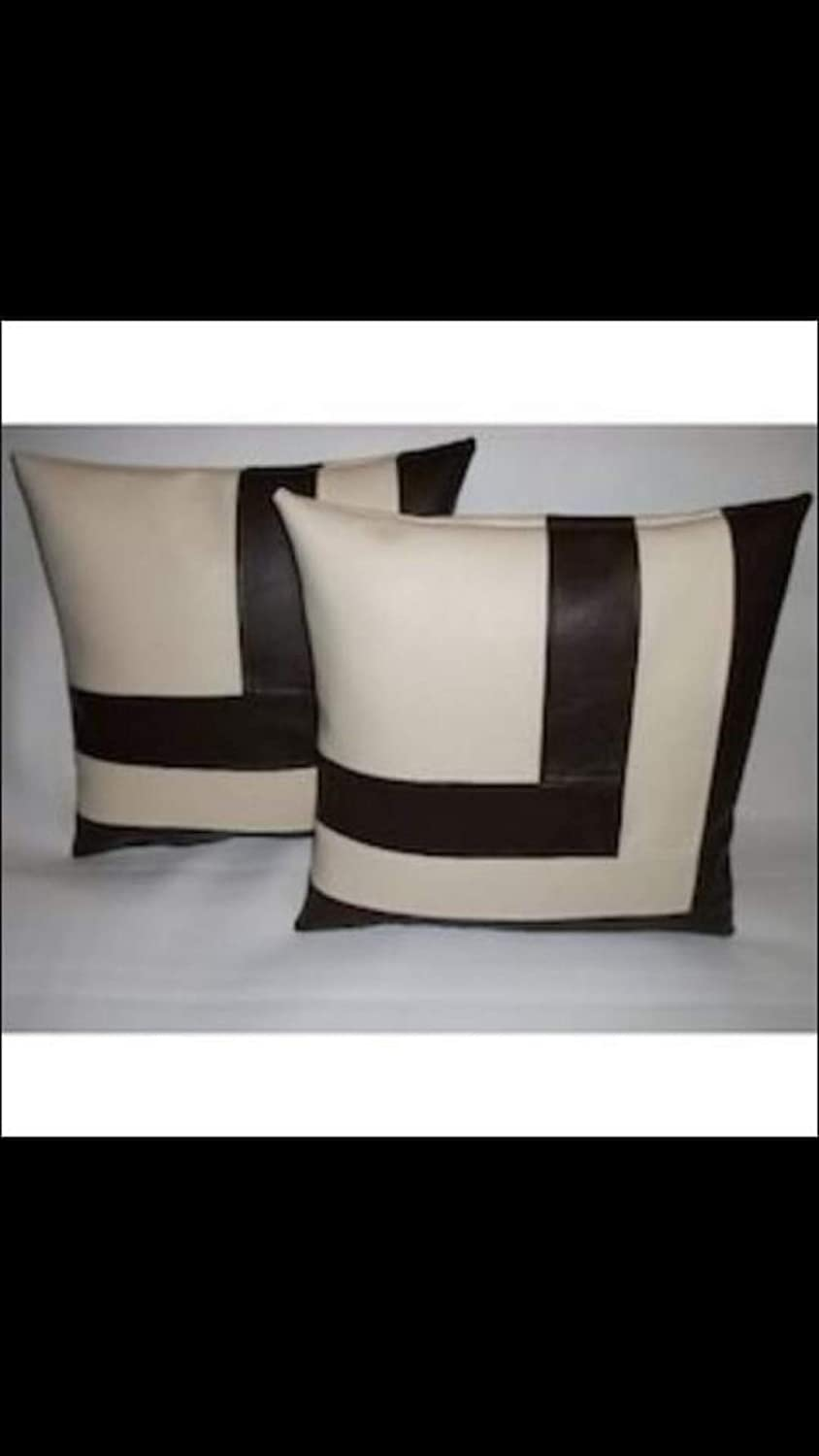 Black Azrah Traders 100/% Lambskin Leather Pillow Cover Sofa Cushion Case 18x18 Inches Decorative Throw Covers for Living Room /& Bedroom