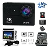 Daretang Wifi 4K Sports Action Camera Ultra HD 100ft Waterproof 12Mp 170 Wide Angle Camcorder with 2.4G Remote Controller, 2Batteries, 1 Charger and other accessories in 1 Carring Case,(Black) Action Cameras Daretang